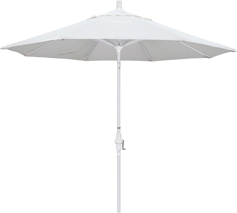 California Umbrella 9' Round Aluminum Market Umbrella, Crank Lift, Collar Tilt, White Pole, White Olefin