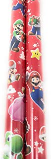P2P Christmas Holiday Super Mario Bros Gift Wrap Wrapping Paper (Bonus: Canzonet Exclusive Gift Tags) ~ Seasonal Winter Birthday Wrap Paper ~ (1) 20 Feet Roll of Decorative Bliss