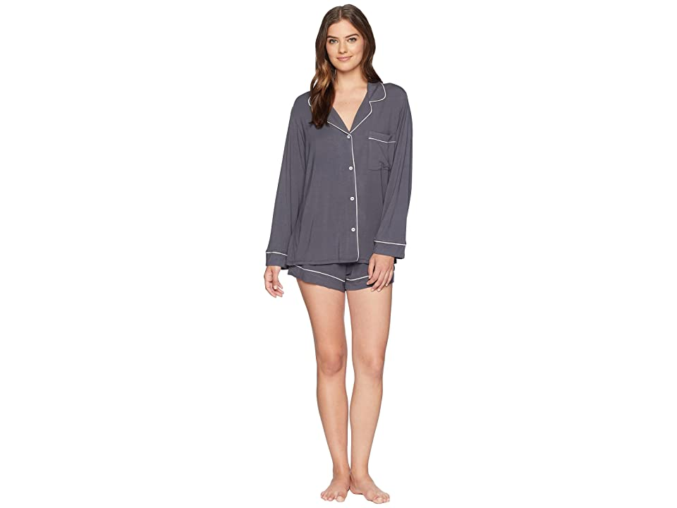 Eberjey Gisele Long Sleeve Short and PJ Set (Graphite/Sorbet Pink) Women