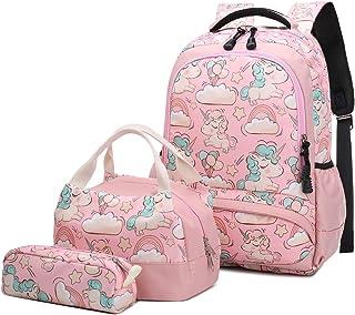 Mochila Escolar Unicornio Niña Infantil Adolescentes Sets de Mochila Backpack Casual Set con Bolsa del Almuerzo y Estuche ...