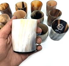 Bhartiya Handicrafts Viking Drinking Horn Gift Whiskey Shot Cup Glass For Wine, Mead, Ale, Ceramic Medieval Inspired Food Safe Vessel | Game of thrones Style 2.5 Inches (2)