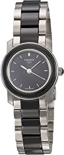 Tissot Women's Black Dial Color Metal & Ceramic Band Watch - T064.210.22.051.00, Silver&Black Band, Analog Display