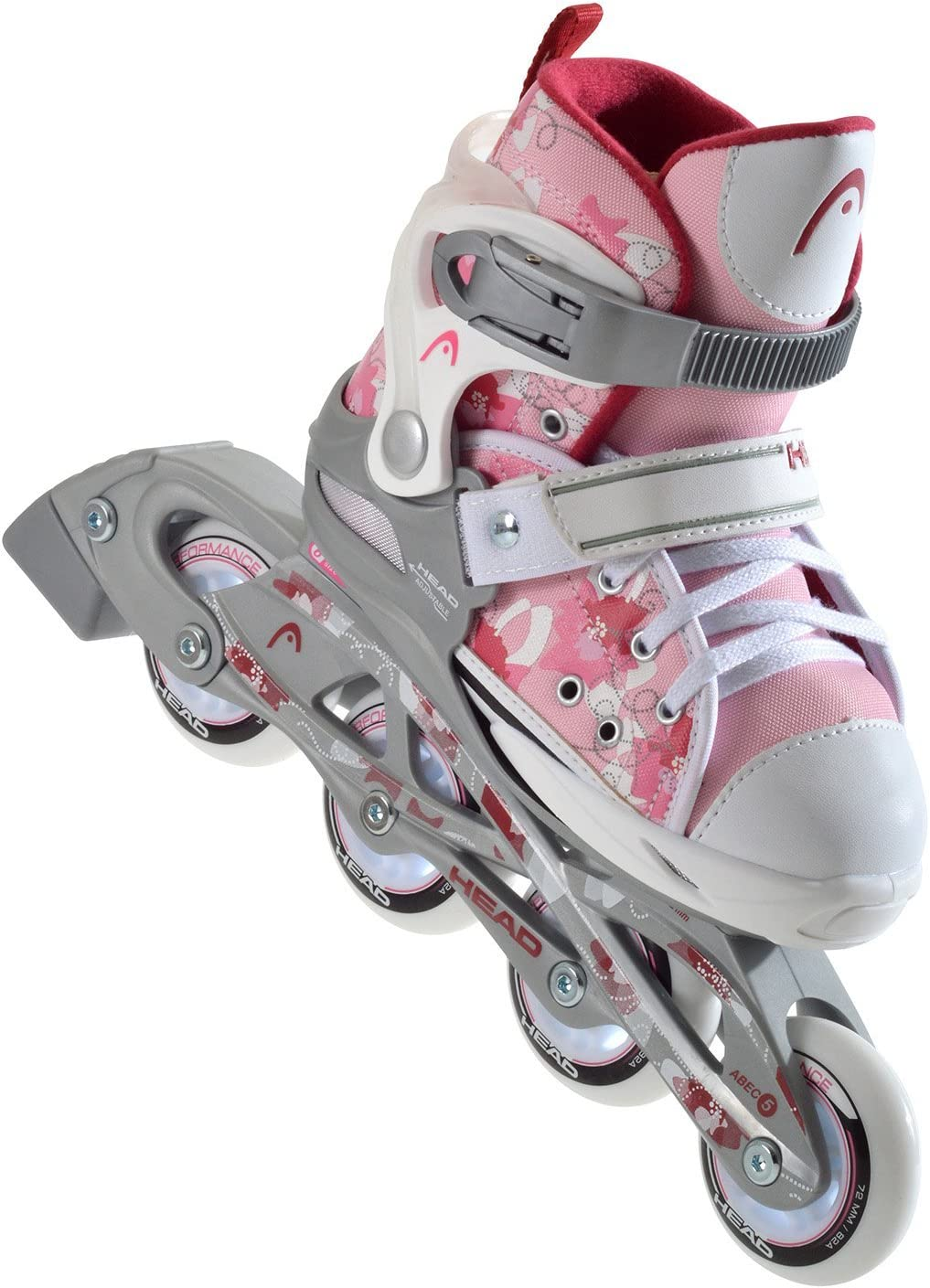HEAD Girls Adjustable in-Line Skates Multi-Coloured Multicolore Rose//Blanc