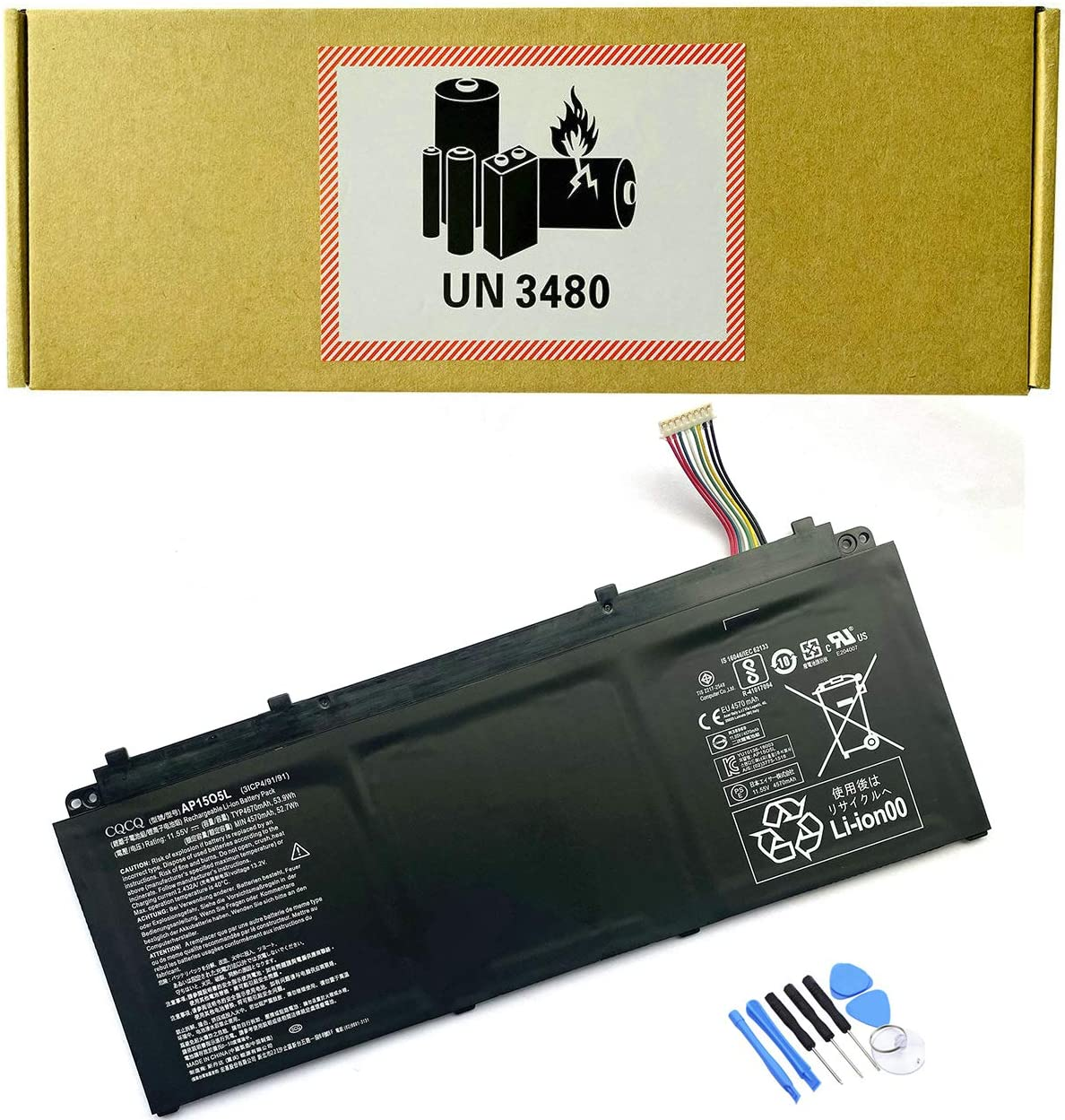 CQCQ AP15O5L Compatible Battery Replacement for Acer Aspire S13 S5-371 S5-371-56VE AP1503K AP15O3K S5-371-52JR S5-371-7278 767P S5-371T-58CC Series Laptop (11.55V 53.9Wh/4670mAh)
