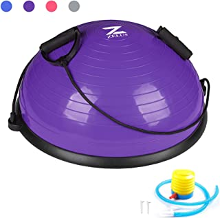 ZELUS Balance Ball Trainer Half Yoga Exercise Ball with Resistance Bands and Foot Pump for Yoga Fitness Home Gym Workout