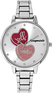 Aéropostale Women's Self Care Watch - Hear Crusted Dial - Perfect Sliver Watch