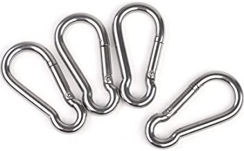 Faswin 3 Inch Stainless Steel Spring Snap Hook Carabiner, Set of 4