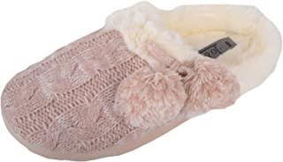 ABSOLUTE FOOTWEAR Womens Knitted Style Slippers/Mules/Shoes with Soft Wearm Faux Fur Lining