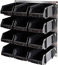 Metalen wandrek met 12 industriële stapelboxen werkplaatsrek combinatie modulair