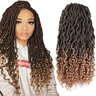 Goddess Faux Locs Crochet Hair Braids Synthetic Braiding Hair Deep Wave Curly Ends Loc Hair Extension Ombre New Style Fashion and Bouncy African Wavy Dreadlocks Hairstyles(6Packs,T1B/27#)