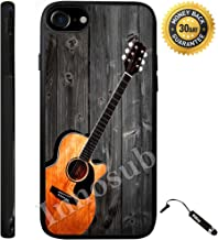 Custom iPhone 8 Case (Guitar on wood) Edge-to-Edge Rubber Black Cover with Shock and Scratch Protection | Lightweight, Ultra-Slim | Includes Stylus Pen by INNOSUB
