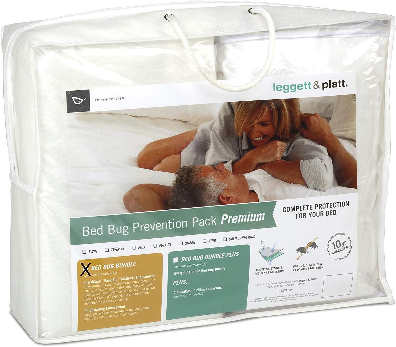 Leggett & Platt Sleep Calm 2-Piece Premium Bed Bug Prevention Pack with Easy Zip Mattress and Zippered Box Spring Encasement, Full