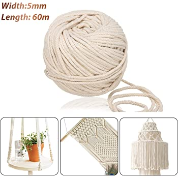Jeteven 5mm x 60m Cuerda Cordel de Algodón Hilo Macramé 100% Natural Trenzado Algodón DIY Planta de Colgar en la Pared Percha Hecha a Mano Craft para Decoración Interior Decoración Bohemia: Amazon.es: