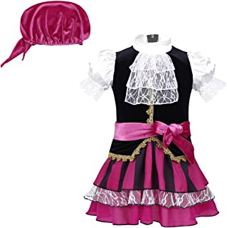 dPois Infant Baby Girls' Little Pirate Halloween Costumes Cosplay Fancy Dress with Headscarf Set Black&Rose Red 0-6 Months