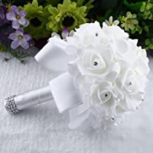 Gotd Crystal Roses Pearl Bridesmaid Wedding Bouquet Bridal Artificial Silk Flowers (White)
