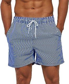 SILKWORLD Men's Swim Trunks Quick Dry Athletic Swimwear Shorts with Mesh Lining and Pockets