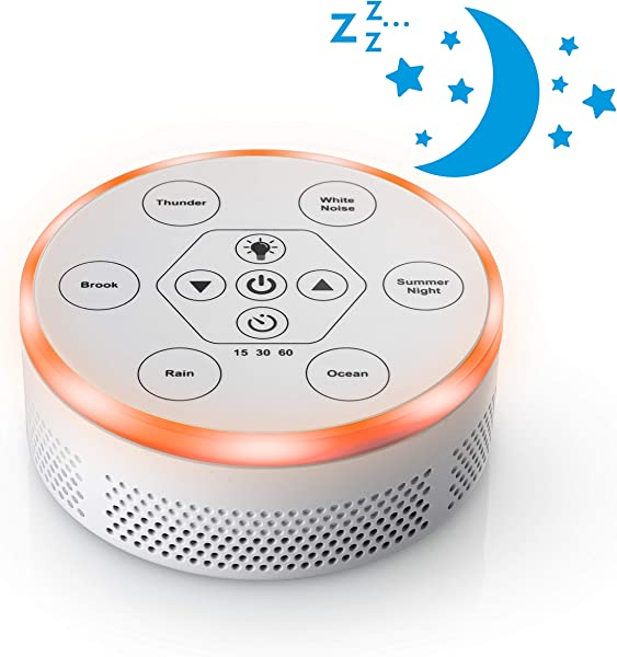 Dream Zone White Noise Sound Machine Relaxing Sleep Therapy For Home Office Baby Study 6 Unique Music Settings Timer USB Charging Ports Flickering Night Light White