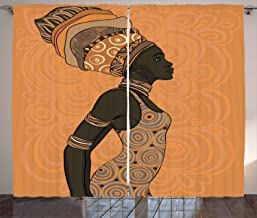 LQQBSTORAGE African Woman Curtains,Indigenous People of Africa Theme Local Woman in Traditional Turban and Dress Grommet Window Curtain Drape Panels 2 Panel Set W55 x L39/Pair Salmon Brown