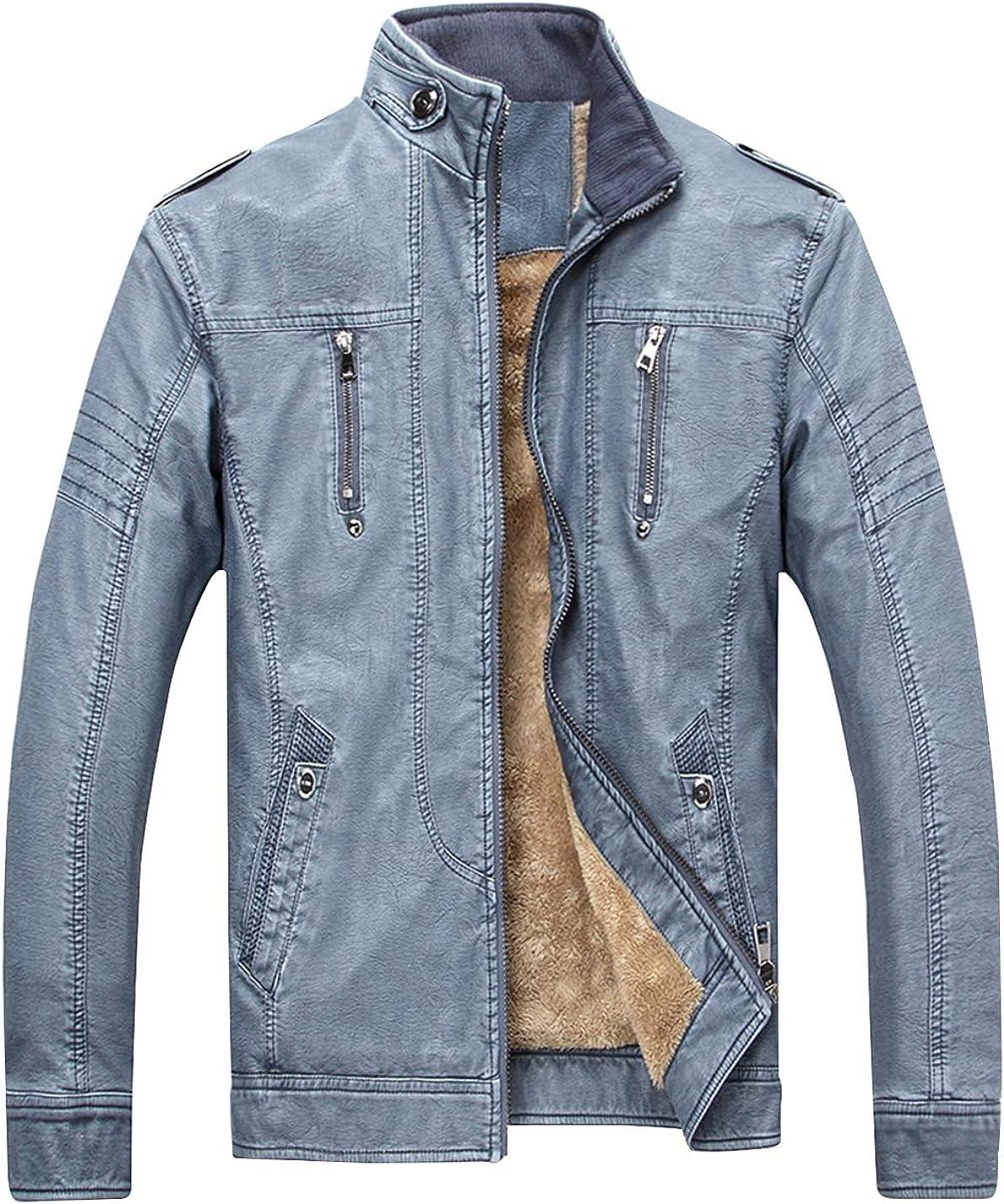 Gihuo Men's Warm Fleece Lined PU Leather Motorcycle Jacket Outerwear