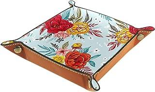 ATOMO Plateau de rangement en cuir coloré - Fleurs peintes - Rouge et jaune - Pour clés, bijoux, pièces de monnaie - Organ...