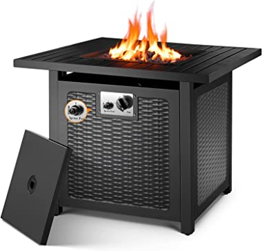 """OKVAC 28"""" Propane Gas Fire Pit Table, 50,000 BTU Square Fire Bowl, Outdoor CSA Certification Fireplace with Auto Electric"""
