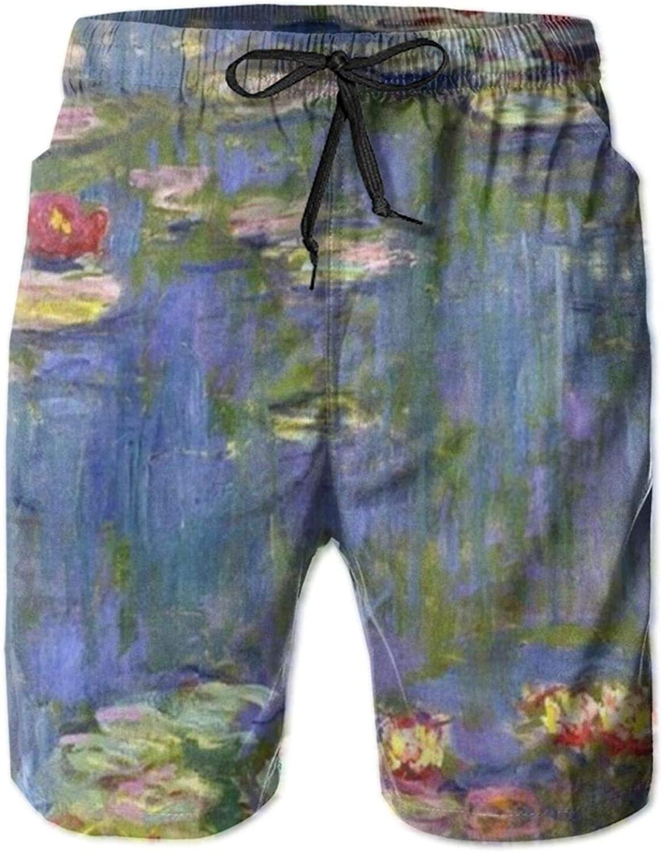 Yt92Pl@00 Mens 100% Polyester Modern Painting Baltimore Mall Trunks Fashion Swim Monet