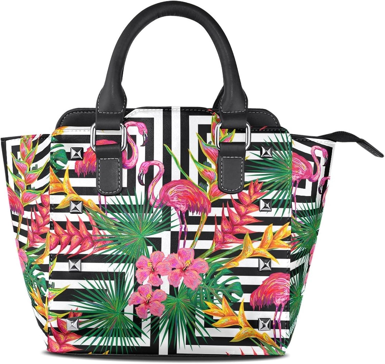 My Little Nest Women's Top Handle Satchel Handbag Summer Jungle Flamingo Palm Leaves Flowers Ladies PU Leather Shoulder Bag Crossbody Bag