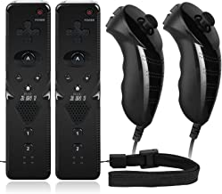 2 Sets Remote Nunchuck Controller Built-in Motion Plus Wrist Strap Compatible with Nintendo Wii Wii U Console photo