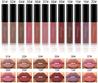 Matte Nude Lipstick Set, NICEFACE 12 Colors Waterproof Long Lasting Lip Gloss Non-Stick Cup Liquid Lipstick Set