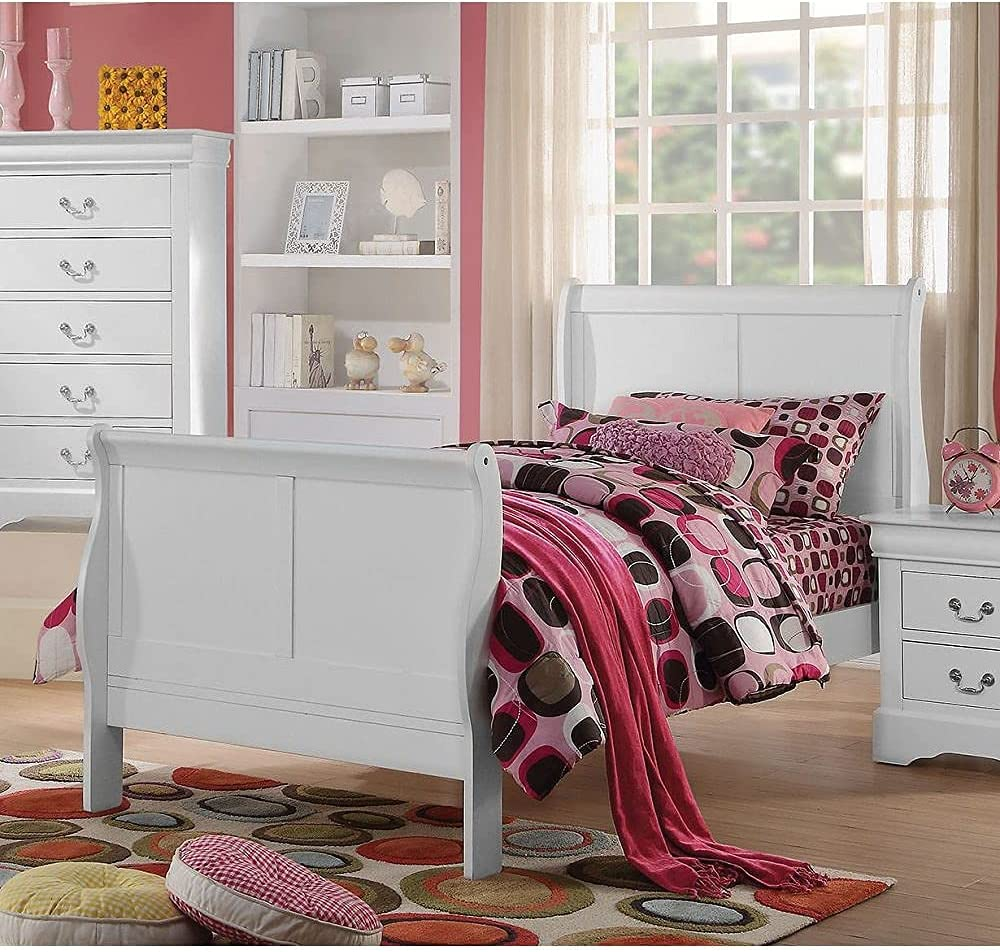 Ecueze Louis Philippe III Cheap mail order shopping Wooden Full Bed with headb Ranking TOP4 White, in