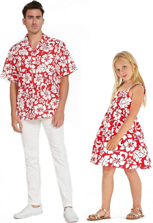 Matching Father Daughter Hawaiian Luau Outfit Men Shirt Girl Dress Classic Vintage Hibiscus