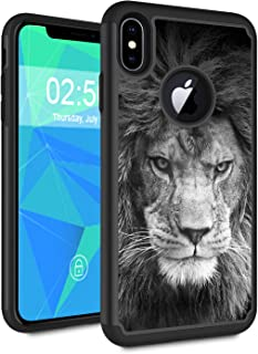 iPhone Xs Max Case,Spsun Dual Layer Hybrid Hard Protector Cover Anti-Drop TPU Bumper for Apple iPhone Xs Max 6.5 Inch (2018 Release),Lion Black and White