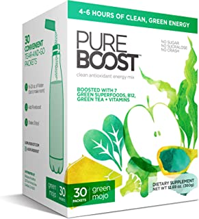 Pureboost Clean Energy Drink Mix with B12, 7 Organic Green Superfoods and Vitamins. Green Apple Flavor. No Sugar. No Sucra...