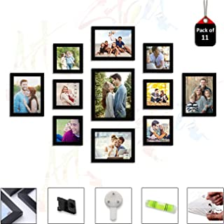 Art Street Set of 11 Individual Black Wall Photo Frames Wall Decor Free Hanging Accessories Included ||Mix Size||6 Unit 5x5, 4 Units 6x8, 1 Units 8x10 inches||