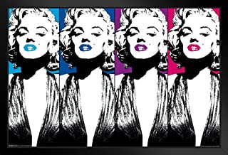 Pyramid America Marilyn Monroe Color Lips Pop Art Hollywood Glamour Celebrity Actress Black Wood Framed Poster 14x20