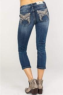 Miss Me Women's Floral High Flap Pocket Mid-Rise Capri Jeans