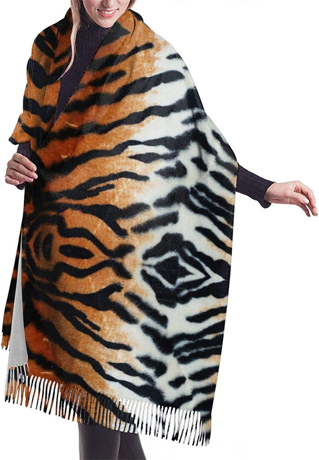 Tigers Pattern Cashmere Feel Scarf Lightweight Soft Scarfs For Boys Girls Creative Warm Cold Weather Blanket Scarf