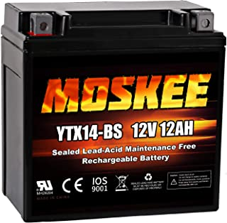 Moskee YTX14-BS Motorcycle Battery High Performance - Maintenance Free - Sealed AGM ATV Battery Replacement for Scooter Snowmobile UTV