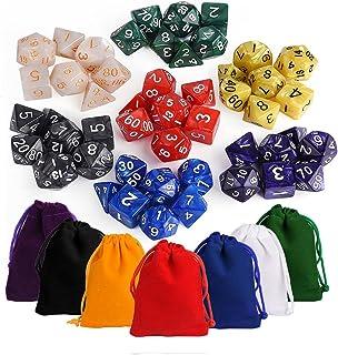 KUUQA ダイスTRPG 49個 7色×7種 Call of Cthulhu Official CoC Dice Set (コールオブクトゥルフ ダイスセット)ボードゲーム カードゲーム用 多面体 サイコロ 7色(赤 青 黄 緑 紫 黒 白)収納袋付き