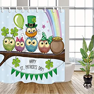 NYMB St Patricks Shower Curtain, Funny Owls Leprechaun Hats with Goins in Shamrock Clover Leaves,Polyester Fabric Shower Curtains for Bathroom, Bath Curtain Hooks Included, 70X70in