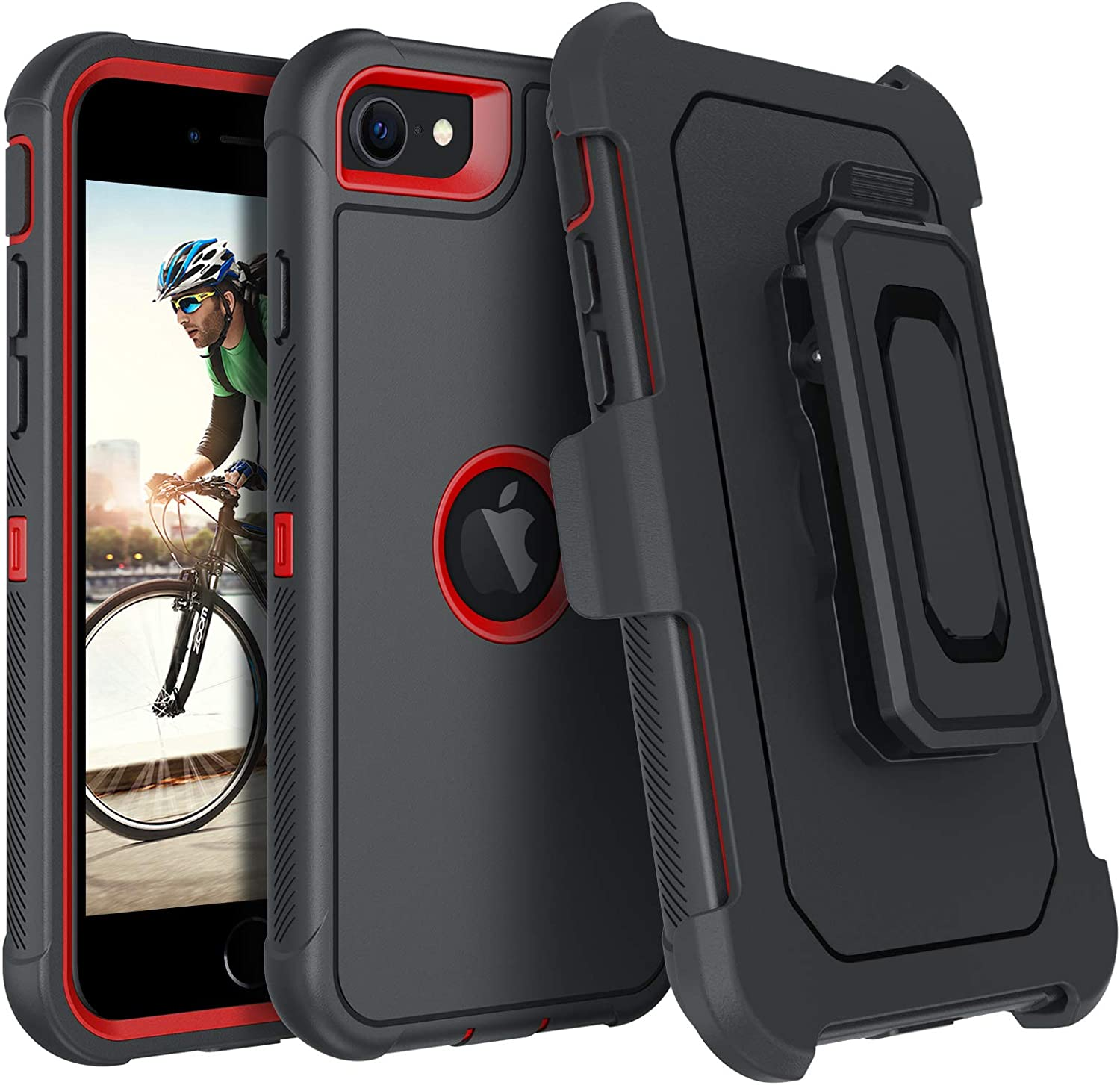 DUEDUE iPhone SE 2020 Case, Military Grade Heavy Duty Drop Protection Shockproof Full Body Rugged Cover with Kickstand Belt Clip Holster for iPhone SE 2nd Generation, Red/Black