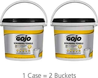 GOJO Scrubbing Towels, Fresh Citrus Scent, 170 Count Extra Large Dual Textured Wipes Bucket (Pack of 2) – 6398-02