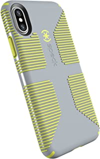 Speck Products CandyShell Grip Cell Phone Case for iPhone XS/iPhone X - Nickel Grey/Antifreeze Yellow
