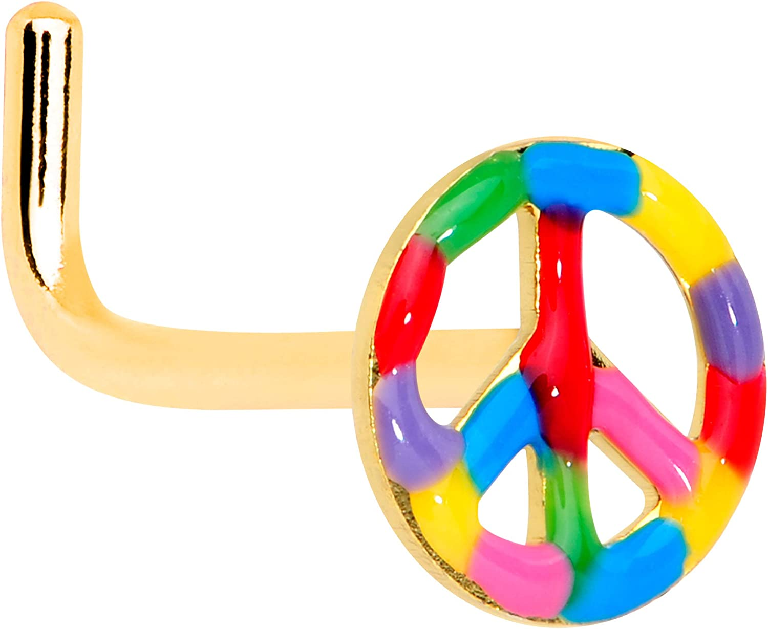Body Candy Anodized Steel L Shape Nose Ring Rainbow Peace Sign Nose Stud Body Piercing Jewelry 5/16