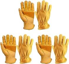 OZERO 3 Pairs Flex Grip Leather Working Gloves Stretchable Wrist Tough Cowhide Work Glove (Gold, Medium)