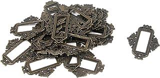 Antrader 24 Pack Vintage Lace-up Office Library File Drawer Tag Business Card Slot Label Holder Metal Frame Antique Bronze