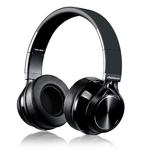Casque Bluetooth sans Fil, Jiebleum Casque Audio Pliable Bluetooth, Casque Hi-Fi Stéréo Sans Fil, protège-oreilles à mémoire de forme, Avec Microphone, Compatible avec iPhone,Android,PC Mac etc, Noir