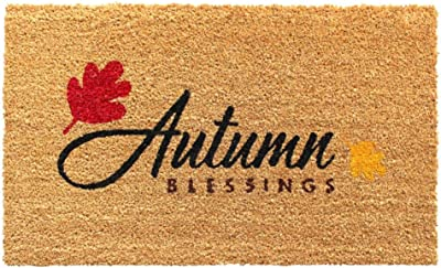 "Rugsmith Black Machine Tufted Autumn Blessings Doormat, 18"" x 30"", Natural"