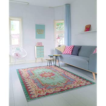 Rozenkelim - Alfombra de estilo Shabby Chic para salón, dormitorio, jardín de infancia, color pastel, 180cm x 120cm: Amazon.es: Hogar