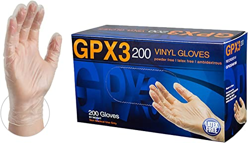 AMMEX GPX3 200 Industrial Clear Vinyl Gloves, Box of 200, 3 mil, Size XLarge, Latex Free, Powder Free, Food Safe, Dis...
